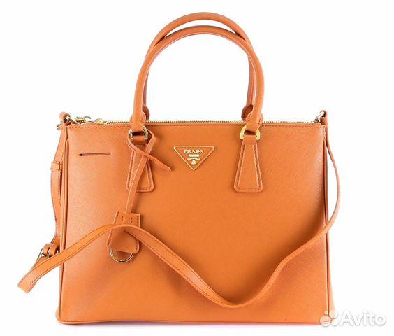 7c6f15f669a9 Сумка женская кожаная рыжая prada Saffiano Leather купить в Санкт ...