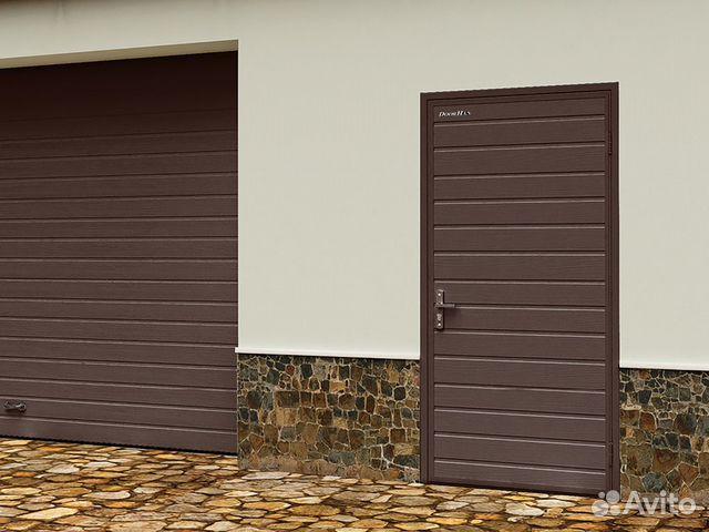 89128655291 Дверь гаражная коричневая