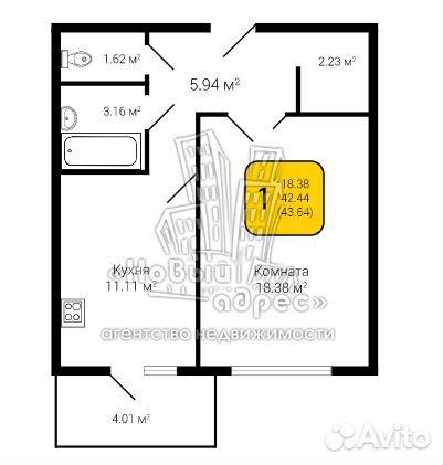 1-к квартира, 43.6 м², 2/10 эт. 89584186418 купить 6