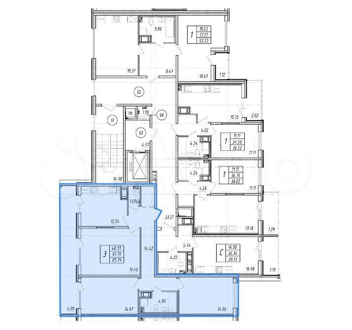 3-к квартира, 81.8 м², 6/9 эт.  89093939533 купить 6