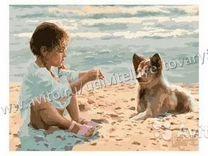 """Раскраска по номерам """"Девочка с собакой на пляже"""""""