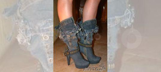 f55a5131e Сапоги джинсовые на платформе, каблук 15см купить в Москве на Avito —  Объявления на сайте Авито